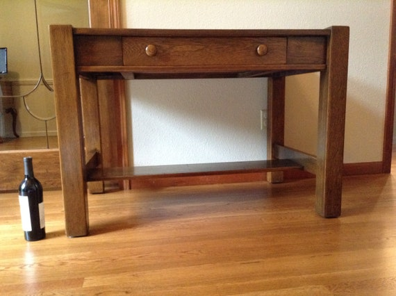release date a07f9 5768c Antique Arts and Crafts, Mission Style Writing Desk, Library Table, Quarter  Sawn Oak Table