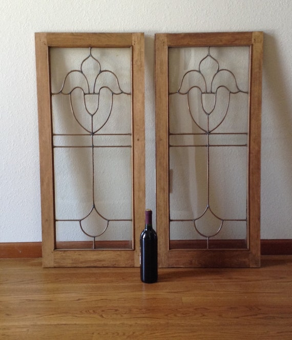 Architectural Salvage Antique Leaded Glass Cabinet Doors Etsy