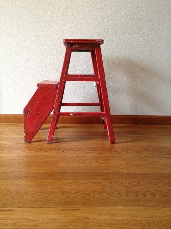 Strange Antique Red Wood Step Stool Kitchen Stool Painted Stool Rustic Plant Stand Uwap Interior Chair Design Uwaporg