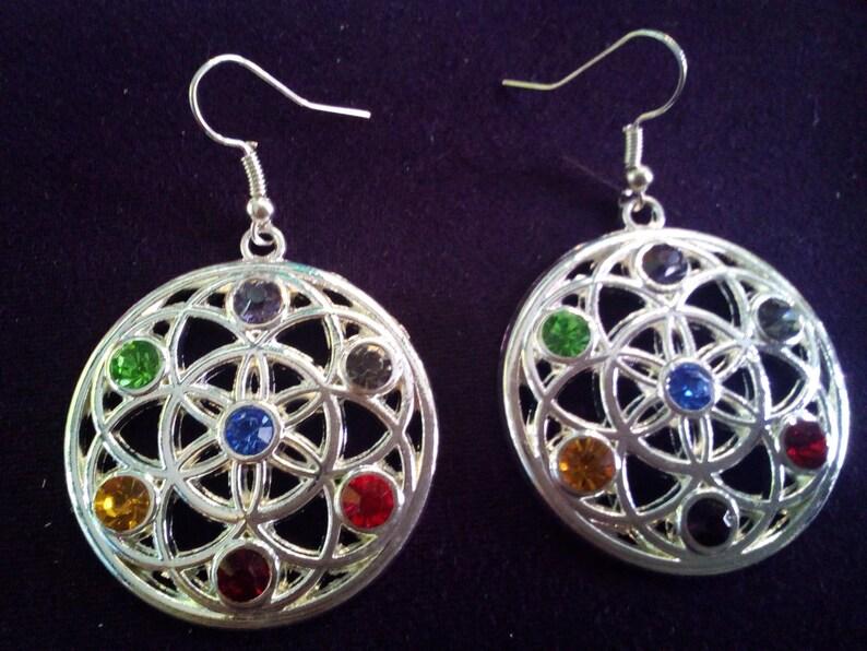 Reiki 7 Chakras Tree of Life Design Crystal Silver Earrings