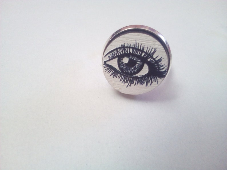 Exclusive 3D Eyes Embossed Laser Cut Wooden Silver Plated Base Adjustable  Ring