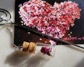 Real Cherry Blossom dehydrated terrarium w 18k MUSIC NOTE ,Piano,Violent bookmark
