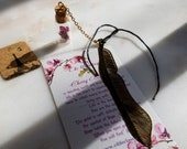 Real Cherry Blossom Dehydrateded terrarium bookmark w 18 gold plated golden feather,Maple,Loutus,Butterfly