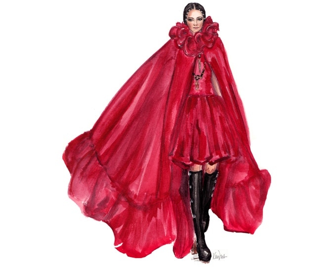 Simple Fashion Illustration print, watercolor print,  Valentino Red Cape and Dress, Fall 2016, Couture, wall decoration, chic art