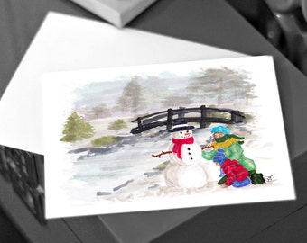 Build a Snowman, Christmas Fashion Illustration Card, art print, Holiday Greeting Card, for that Bestie, Happy New Year, Gifts under 3