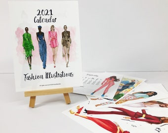 Mini 2021 Calendar, Fashionista Calendar, Teens Wall Art, Desk Calendar, Art desk decor, watercolor illustration, Art print calendar
