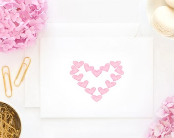Pink Hearts, I love you,  Watercolor art print, Happy Valentines Day Greeting Card, for that Special Someone, Gifts under 3