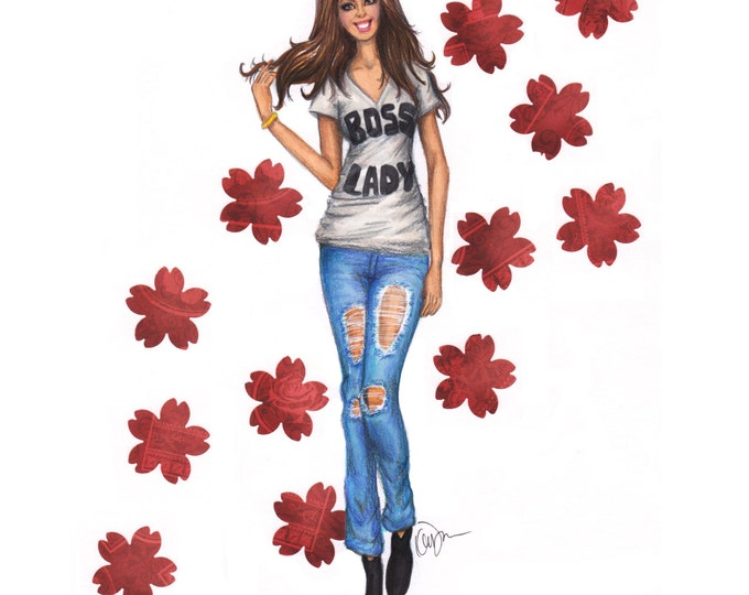 Simple Fashion Watercolor Illustration print, Boss Lady T-shirt and trendy ripped jeans,  California Blonde Bombshell, Chic Wall Art Decor
