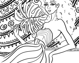 Marker Fashion Illustration, Colorful, Print, sharpie art, black and white