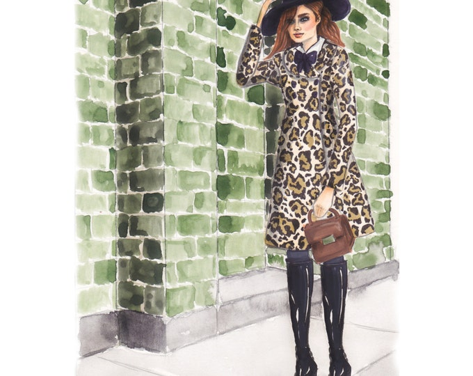 Fashion Illustration print of Leopard Jacket Girl in front of Green Brick Wall