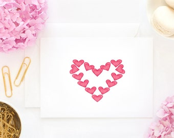 Red Hearts, I love you,  Watercolor art print, Happy Valentines Day Greeting Card, for that Special Someone, Gifts under 3