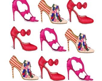 Rupert Sanderson, Manolo Blanik, Minna Parikka, Bow Pump, Strappy Sandal, Bootie, and Stiletto heel,  Illustration print