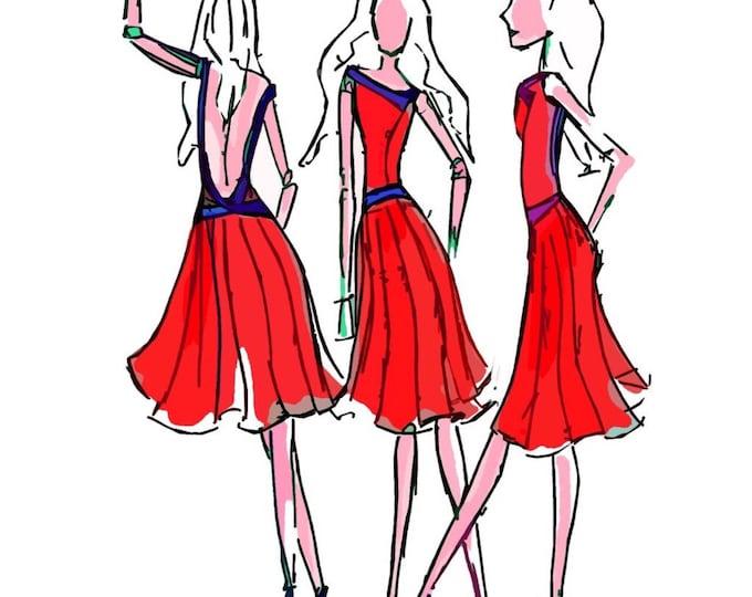 Simple Fashion Illustration print. Retro pop art, Fashion Forward Friends, wall decoration chic art