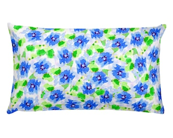 Blue Loose Floral Pillow