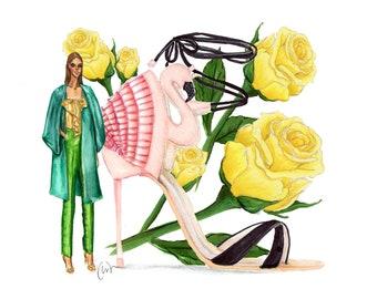 Flamingo & Roses