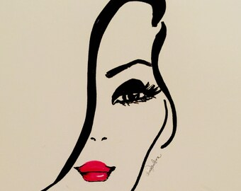 Fashion Illustration print. Red Lips