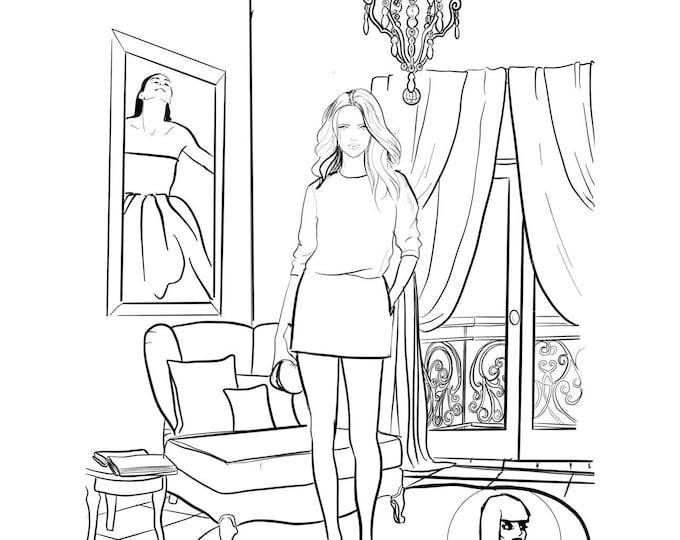Marker Fashion Illustration, Colorful, Print, sharpie art, black and white