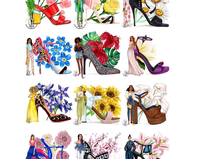 Shoes, flowers, and fashion, Fashion Illustration, Colorful, Print, floral