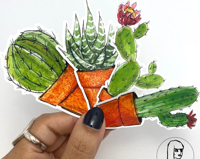 Succulent Sticker, Potted Plant, Journaling, Waterproof, Hand-drawn labels, Cactus, cute sticker, die-cut stickers, Nopal, gift under 3