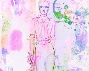 Marker and paint drips Fashion Illustration, Colorful, Print, sharpie art, colorful