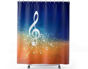 Music Shower Curtain Bathroom Home Decor Note Musical Gift