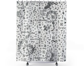Music Shower Curtain Bathroom Home Decor Note Musical Gift