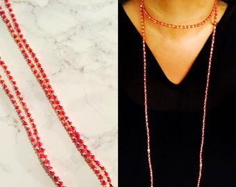Pink & Gold Beaded Double Wrap Necklace