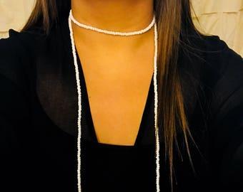 White Double Wrap Necklace