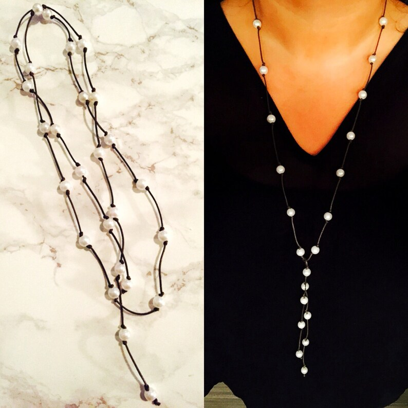 Freshwater Pearl Leather Strand Tie Necklace image 0