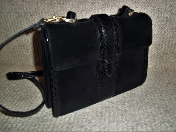 Vintage 1960's Black Suede Leather and Snakeskin S