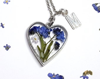 Mother day gifts idea Mothers day gift for grandma Forget me not heart necklace Personalized necklace Personalize Graduating Valentines gift