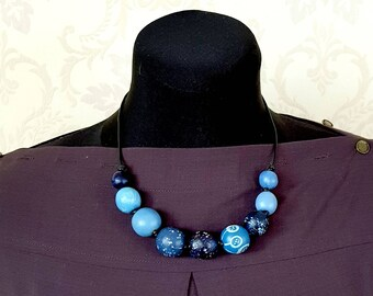 Mothers gift Beads for jeans Blue beads Wooden beads eco beads eco necklace wooden beading beaded necklaces blue wood necklace gift sister