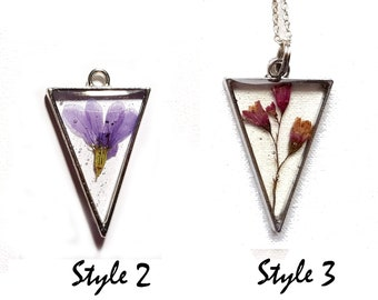 Pink pressed flowers triangle necklace V necklace Triangle pendant pyramid graduation gift