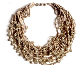 Pearl necklace Pearl Statement Long necklace Long beaded necklace Multi strand Bead crochet Crocheted necklace with beads Knitted necklace