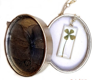 4 leaf clover necklace Green Rectangular pendant with a real pressed Four leaf clover St Patricks Day gift Mother day jewelry
