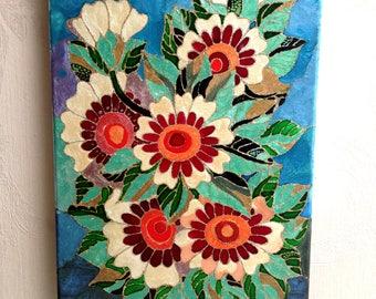 Flowers art gift for mother flower painting painting for gift home art gift housewarming canvas painting of flowers canvas art wall