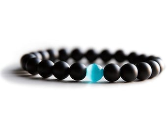 Onyx and Blue Opal Energy Healing Bracelet for Women and Men