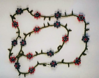 Flowered Pink & Purple Bead Woven Necklace