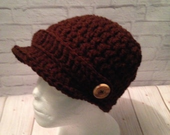 95a53b15234 Crochet Newsboy Hat - Newsboy Cap - Baseball Hat - Newsboy Hat -News Boy Hat  - Coffee Hat - Brown Hat - Birthday Gift - Warm Hat