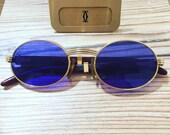 CARTIER GIVERNY Vintage Sunglasses Gold Plated Bubinga Wood