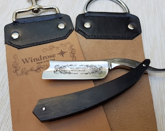"""Straight razor by Windrose """"All British Razor"""" 6/8th Shave ready!+Leather Strop+Free leather case."""