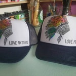 Custom order for Dawn Martines ! Love my tribe head dress hand painted trucker hats!