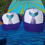 For DAWN MARTINES!  Mommy and me matching hand painted mermaid tail trucker hats!