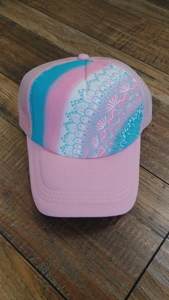 cef89b46dce Mandala trucker hat. Pink trucker hat. Trans pride hat. Trans