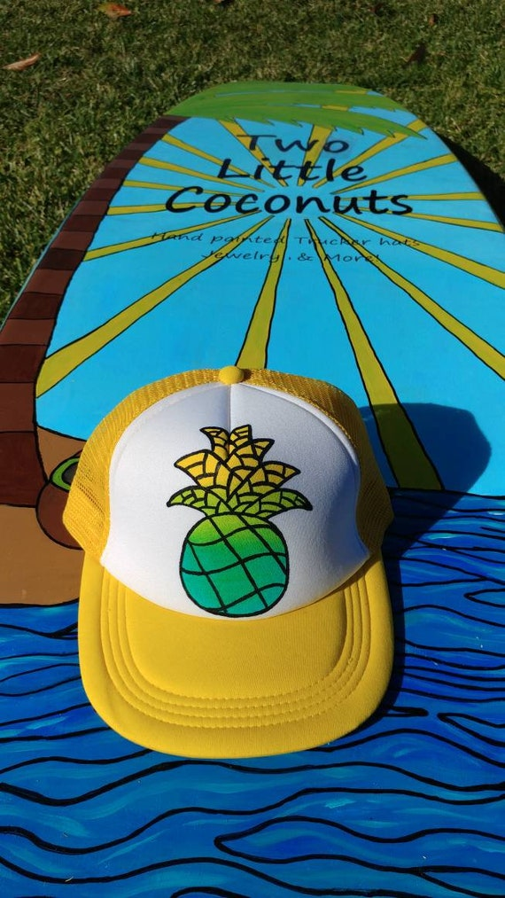 Yellow flat bill Ombre doodle pineapple snapback. Yellow  a844a9db54be