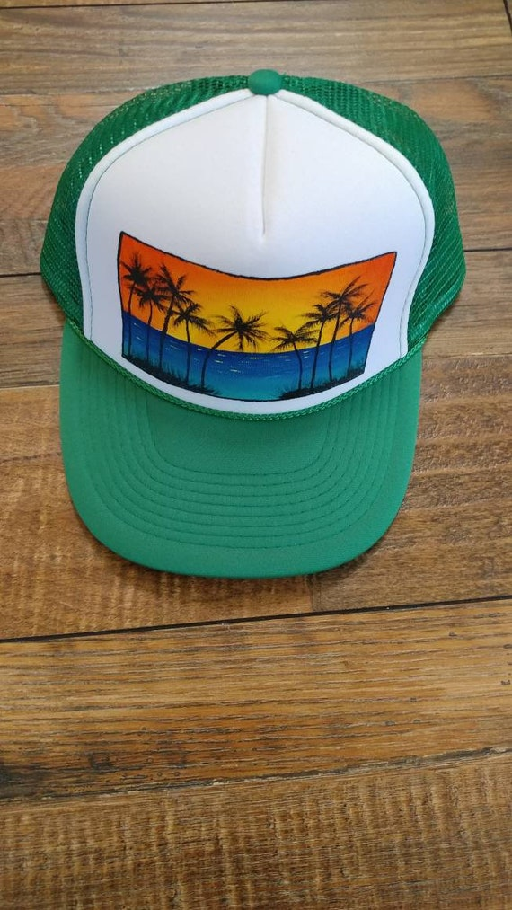Sunset trucker hat. Kelly green snap back. Island vibes hat.  5e990508a579