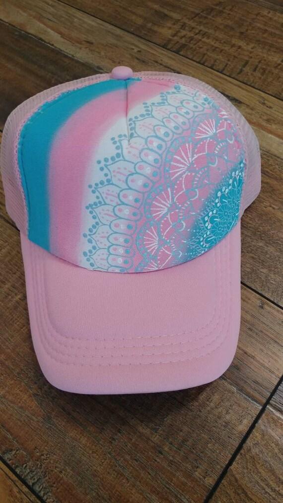 2c8c8a429 Mandala trucker hat. Pink trucker hat. Trans pride hat. Trans pride.  Transgender pride hat. Transgender flag. Blue, pink, & white. Yoga hat.