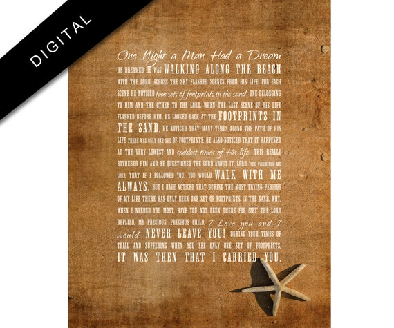 photo regarding Footprints in the Sand Printable called Printable Footprints inside of the Sand, Nation Rustic, Christian Artwork, Weathered Christian poster, Professional Beach front Decor, Downloadable footprints