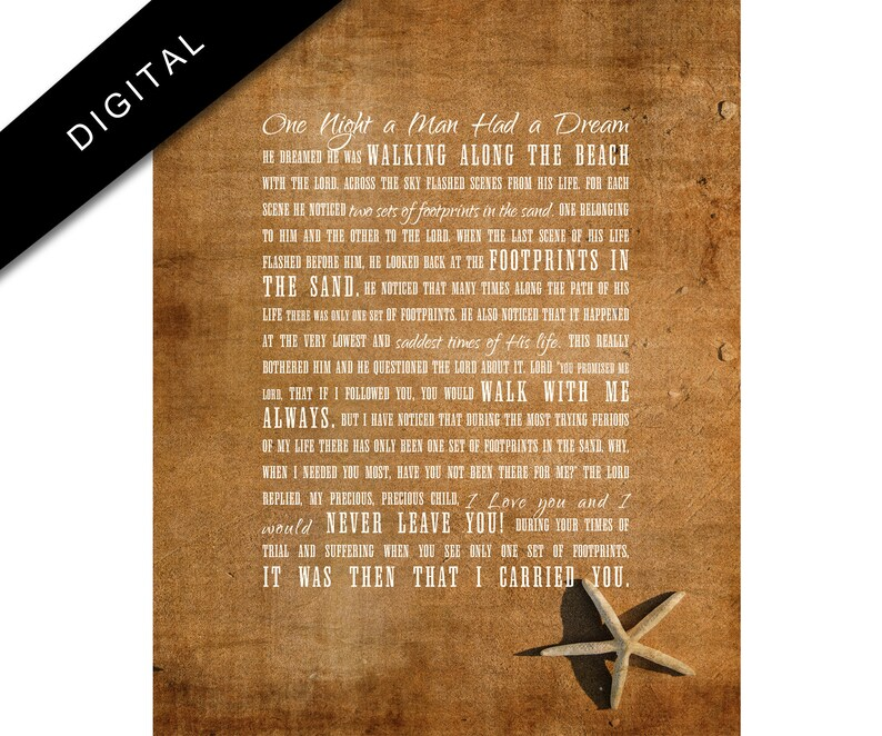 photograph relating to Footprints Poem Printable identify Printable Footprints within the Sand, Nation Rustic, Christian Artwork, Weathered Christian poster, Commercial Seaside Decor, Downloadable footprints