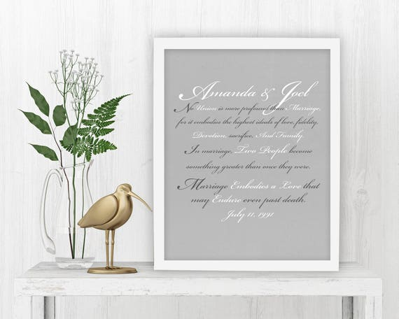Wedding Vow Gifts: Wedding Vow Art Vows On Canvas Framed Gift Wedding Print